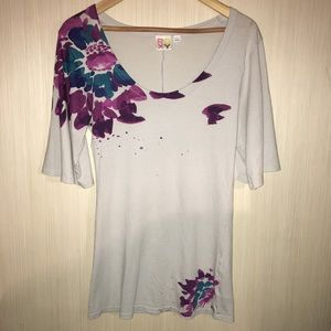 Roxy Grey Floral Tunic with Wide 1/2 Sleeves